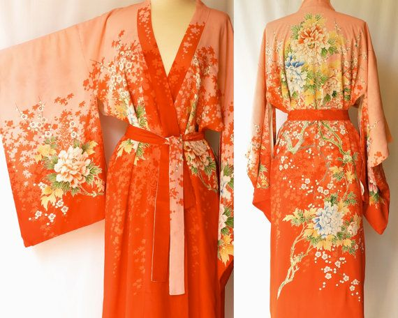 "1940s Japanese silk kimono robe (check out other pics of hand painted flowers & sleeve details). MEASUREMENTS: Belt: 1.5"" wide x 65.5"" long Chest: 50"" armpit to armpit, doubled Length: 54"" down back Sleeve Span: 50"" across top of shoulders and down both arms to sleeve edge"
