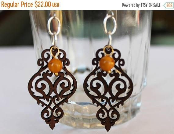 On Sale Yellow beaded earrings with laser cut brown leather