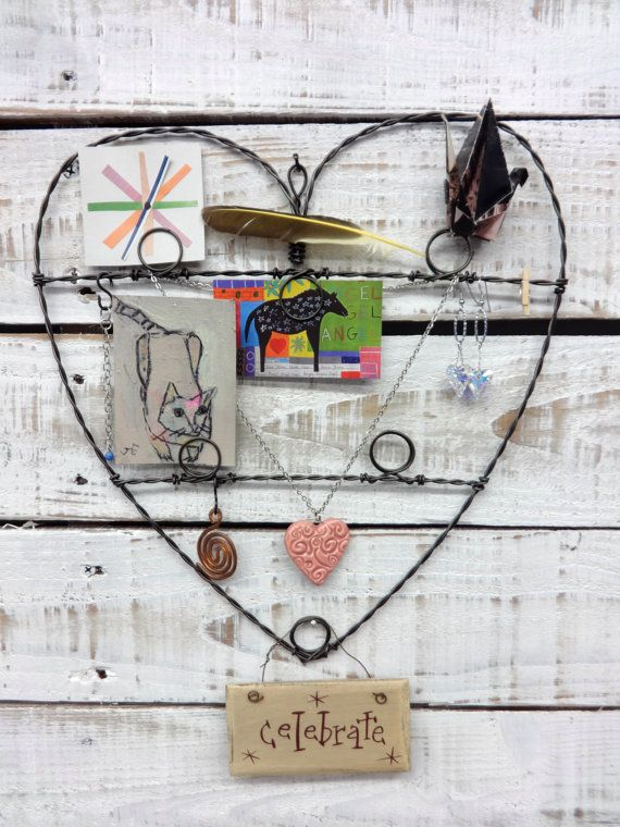 heart shaped wire wall hanging photo jewelry by