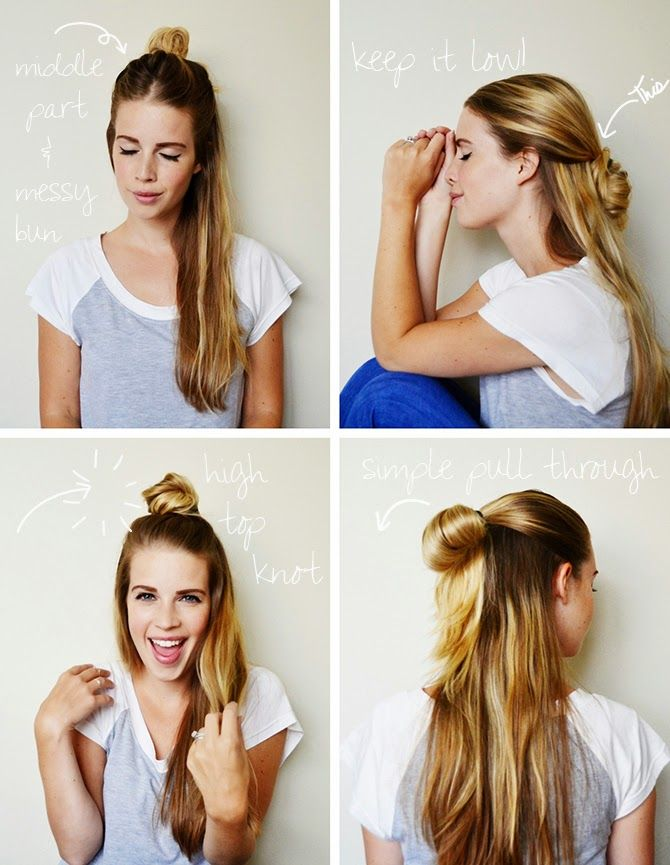 4 HAIRSTYLES // half-up top knot