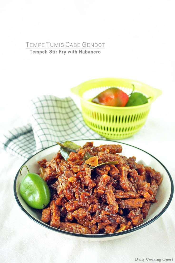 Tempeh Stir Fry--For a really long time, I thought the hottest chili in Indonesia is bird eye chili, a.k.a. cabe rawit. Then one day I saw habanero being sold, and lo and behold, they are called cabe gendot in Indonesian due to its blown up shape. This chili is being produced in ..