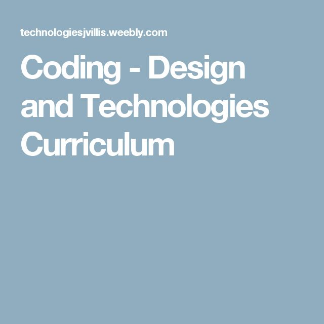 Coding - Design and Technologies Curriculum