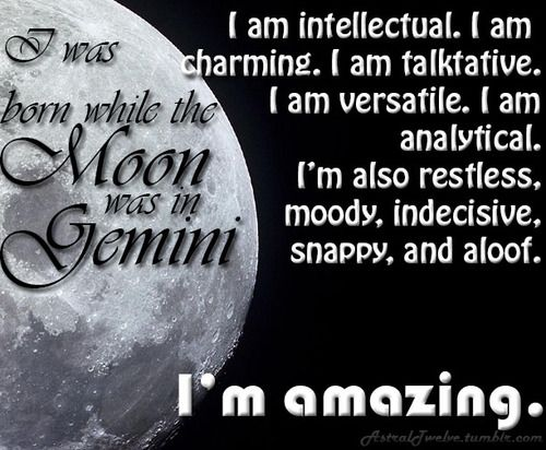 MOON IN GEMINI  #Zodiac #Astrology For related posts, please check out my FB page:  https://www.facebook.com/TheZodiacZone