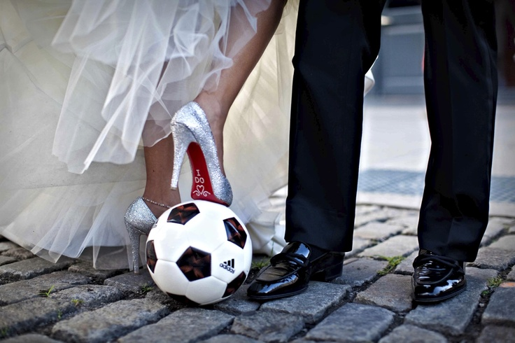 Soccer + wedding = playful image