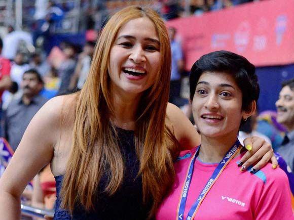 Jwala Gutta and Ashwini Ponnappa at the Badminton Asia Team Championships in Hyderabad