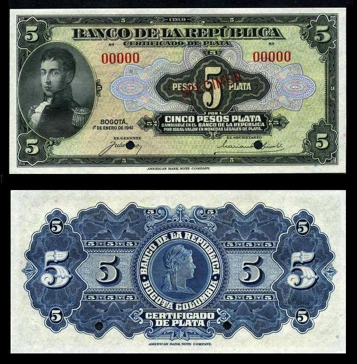 Monedas De Colombia - 5 Pesos Plata 1941
