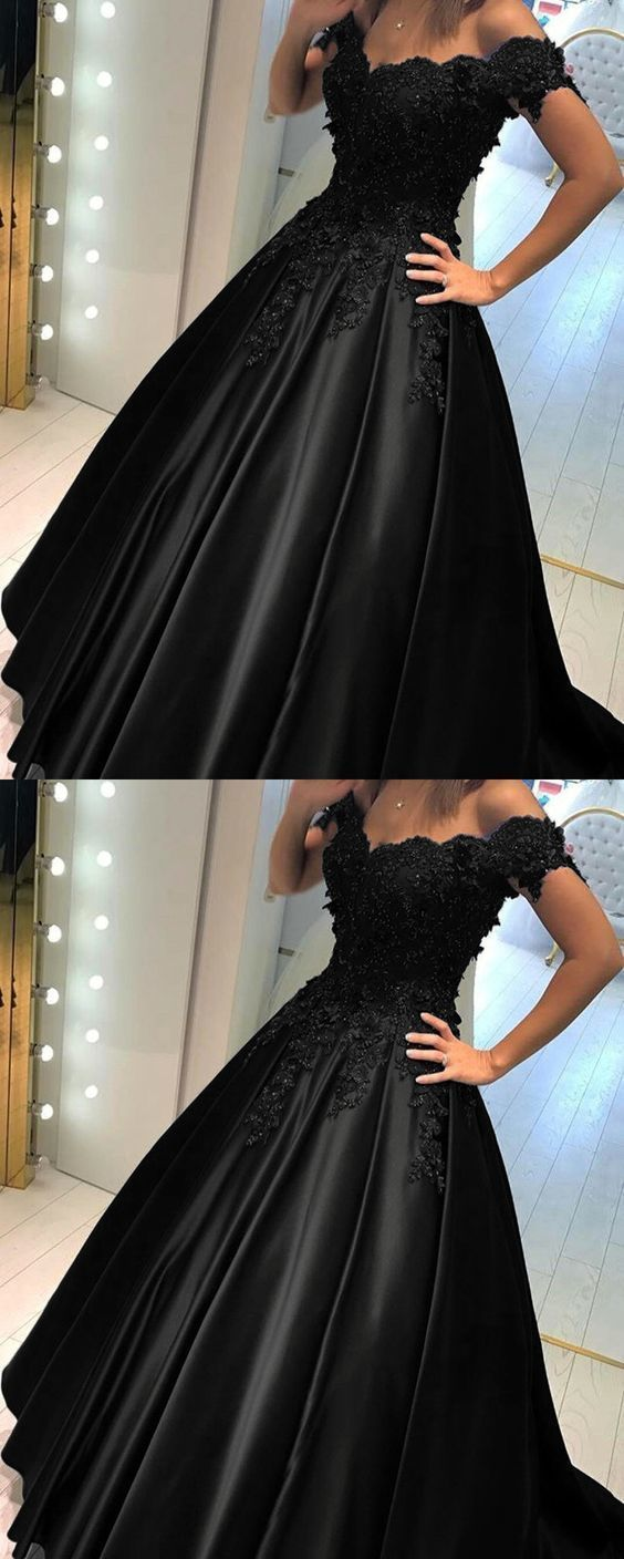 Black ball gown prom dress off the shoulder