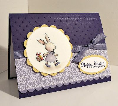 Girl Bunny Easter Card Idea with Scallops and Embossed Background