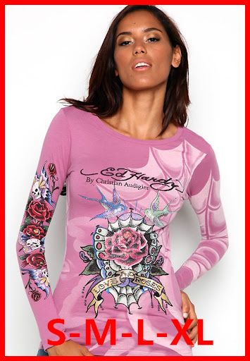 ED Hardy Women Cheap Promotional 100% cotton stock Available ED HARD LONG  SLEEVE HOT PINK