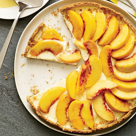 Creamy Peach Tart with Smoky Almond Crust Recipe - Grace Parisi | Food & Wine