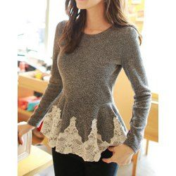 Wholesale Solid Color Long Sleeve Round Collar Skirt Hem Lace Embellished T-shirt For Women (GRAY,XL), Long Sleeves - Rosewholesale.com