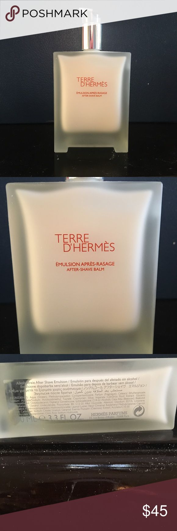 HERMES, Terre D'Hermes After Shave Balm. 3.3 OZ Terre D'Hermes Aftershave Balm, 3.3 OZ. This emulsion provides hydration and comfort to the skin. It's fluid and soft formula is easily absorbed and soothes razor burn. Non greasy texture.    NEW w/o tags. Unopened Hermes Other