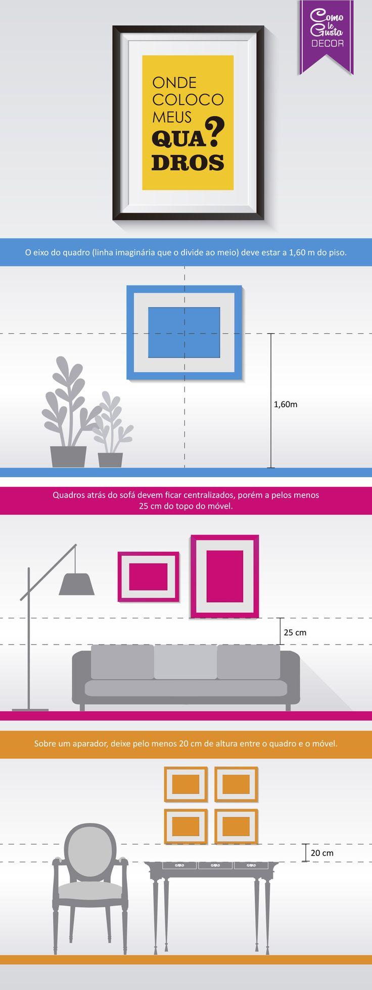 Tem dúvidas de como pendurar os quadros? Veja tudo o que precisa saber para transformar qualquer parede sem graça em um ambiente totalmente novo.  Veja o post: http://comolegustadecor.com.br/2015/04/guia-sobre-quadros-parte-1/