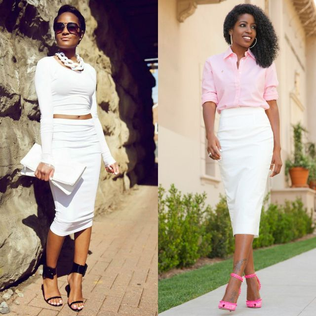 7777837fca51 White pencil skirt outfits | White midi pencil skirt outfits for summer