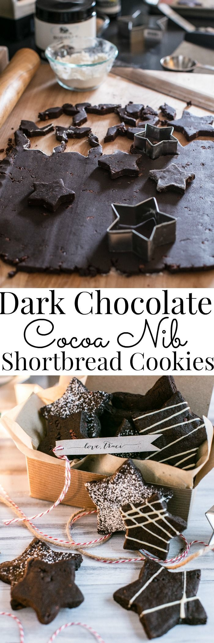 Fun and easy to make, these rich chocolatey cookies make gorgeous and delicious gifts! | Dark Chocolate Cocoa Nib Shortbread Cookies | Homemade Gifts | Shortbread Cookie Recipes