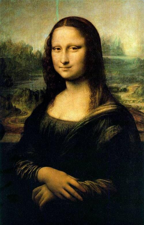 모나리자('Mona Lisa'), 레오나르도 다빈치(Leonardo da Vinci,1452-1519) 목판에 유채, 77 x 53 cm, 1503-06, 루브르 미술관     레오나르도가 4년을 그렸으나 미완성으로 남았다는 이 걸작은, 레오나르도가 가장 원숙기에 접어들었을 때, 즉 1503년부터 06년 사이에 그려진 것으로 전해진다.  눈썹의 유무로 미완성이냐, 그 시대의 미의 기준이다, 말이 많지만 레오나르도 다빈치의 모든 예술적 능력과, 과학자적 능력, 철학적 능력까지 모든 열정을 부은 걸작이라는 점에는 이의가 없는 작품이다.