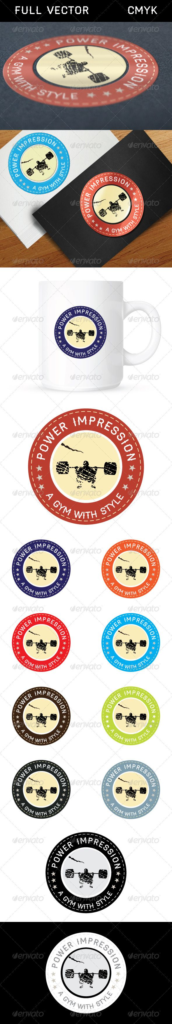 Power Impression Logo  #GraphicRiver          This is the vintage / retro trend logo. Can be Used with Gym, health and Fitness Club business, blog, websites, centres etc Free Font Used.  	 File is fully editable. All colors and text can be modified. High resolution files included in AI and EPS format.   	 Contact me if any additional customization is required. It will be offered with minimum fee.  	 Free Font is used and can be downloaded from:   .losttype /font/?name=haymaker     Created…