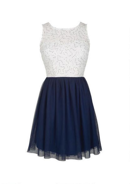 Sequin Lace And Tulle Dress in Navy