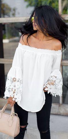 White Crochet Bell Sleeves Top