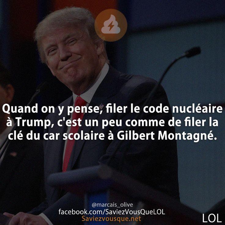 Quand on y pense, filer le code nucléaire à Trump, c'est un peu comme de filer la clé du car scolaire à Gilbert Montagné.