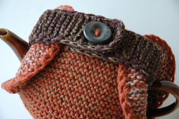 Knitted wool tea cosy double thickness autumn colours by KororaCrafters