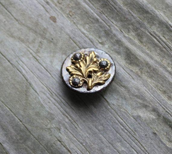 Vintage antieke staal gesneden knop met verguld messing door Reneux