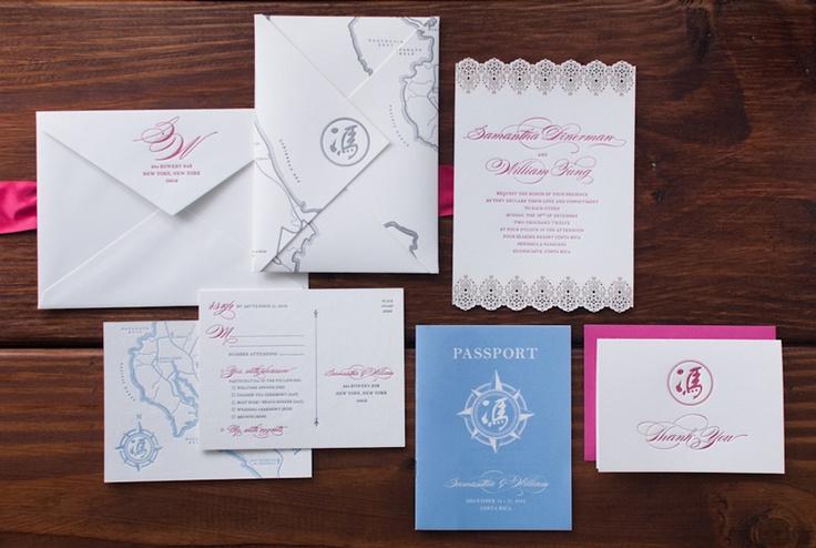 Samantha + William's Illustrated Map Destination Wedding Invitations | Design and Photo Credit: Heritage+Joy | Letterpress Printing: Czar Press