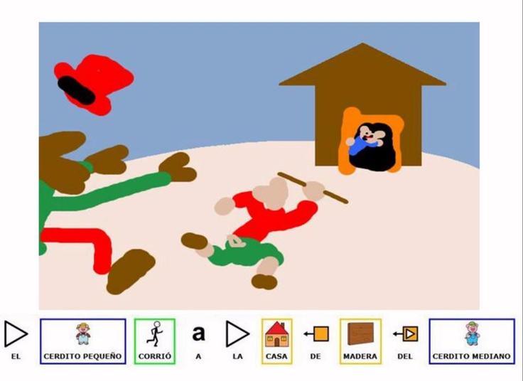 """MATERIALES - Cuento de """"Los tres cerditos"""".  No os perdáis esta maravilla de cuento adaptado con pictogramas de ARASAAC y con ilustraciones y voces de Íñigo Estévez, un niño diagnosticado con TEA, que ha realizado un trabajo fantástico.    http://www.slideboom.com/presentations/741346/LOS-TRES-CERDITOS-EN-PWP"""