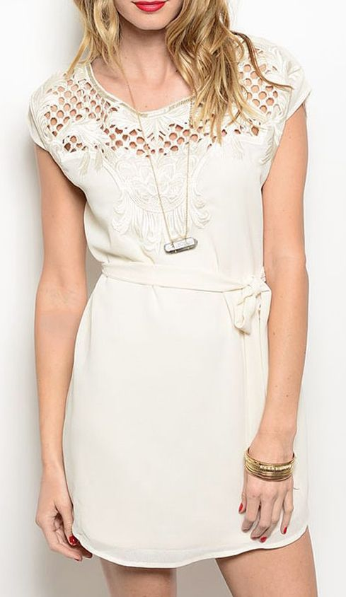 Shop the Trends White Anthemion Cap-Sleeve Dress