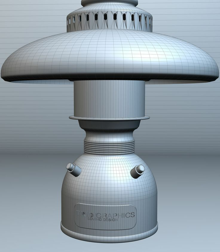 Vista del modelo en 3d del prototipo de la lampara