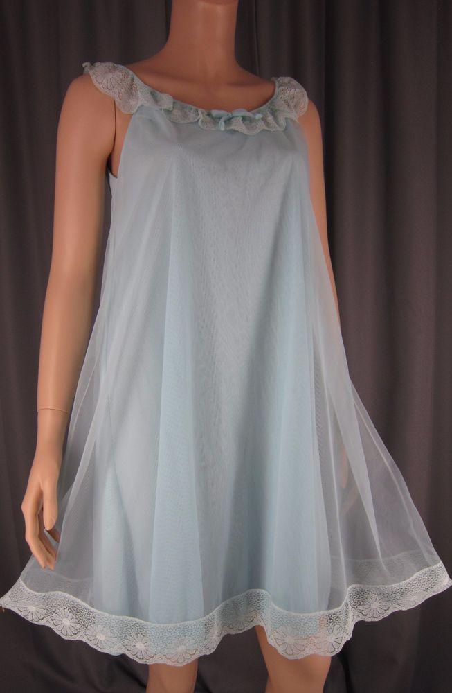 Vintage 1960s Gilead Turquoise Sheer Chiffon Overlay Nightgown Babydoll Nightie #Gilead