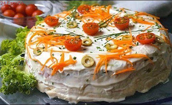 Pastel de atún frío con pan de molde. ¡Muy fácil y SIN COCINAR!