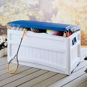 Pool Storage Box 73 Gallons w/Blue Lid for $99 #PoolsideAccessories #CozyDays