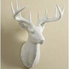 "20"" Wallmount White Deer Head Decor"