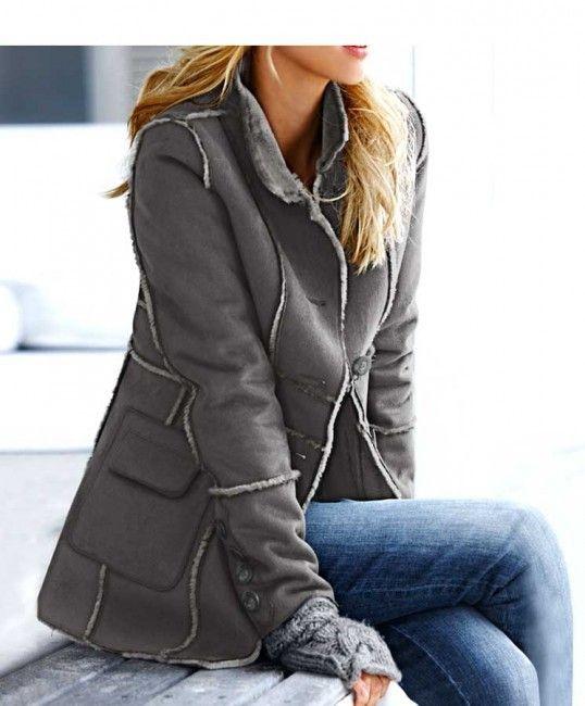 Dámsky kožuch HEINE - sivá - Dámske bundy a kabáty