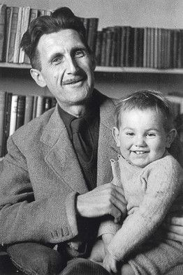 George Orwell (Eric Blair) and his adopted son, Richard Blair, in 1949