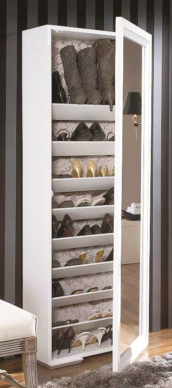 Shoe rack with full-length mirror
