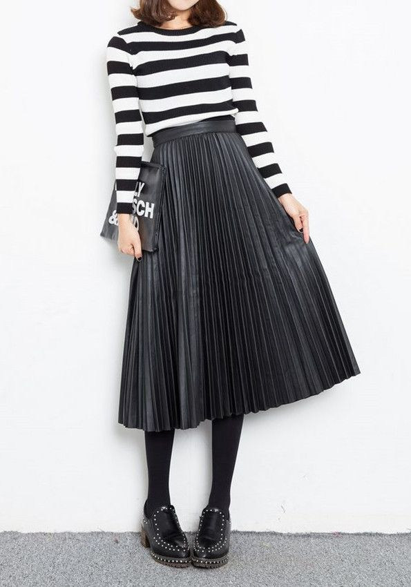 mid-length black faux leather pleated accordion skirt paired w/ striped rocker-tee for daytime event, work, or chic happy hour.