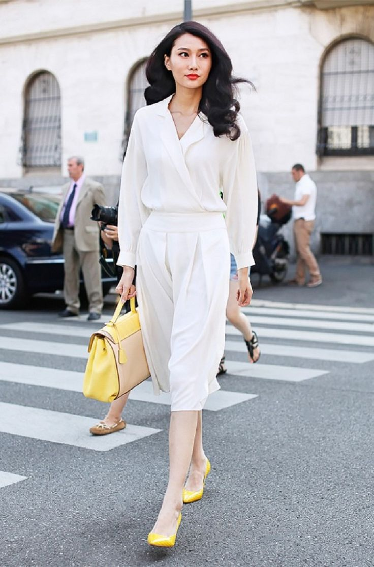 Conservative White Office Outfit With Yellow Shoes And Bag Moda Pinterest White Office