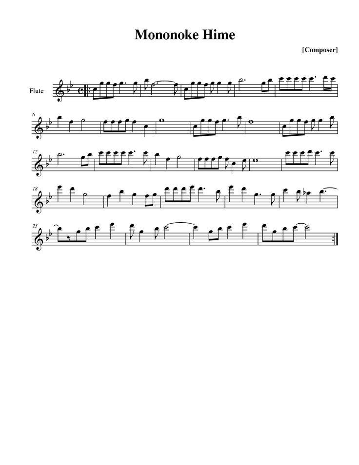 Princess Mononoke Sheet Music Violin | Princess Mononoke Mononoke Hime Flute Solo