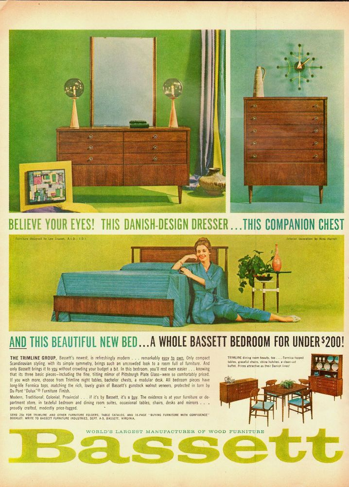 1961 Vintage Ad For Bassett Furniture~Danish Design Dresser (082313)