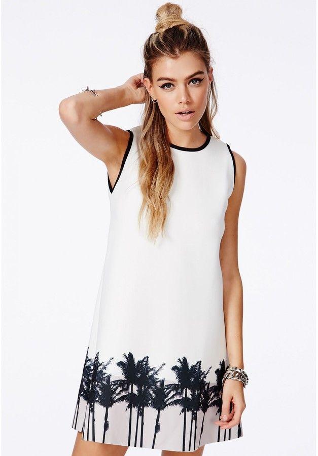 Palika Palm Tree Print A-Line Dress pairs perfectly with resort jewelry.