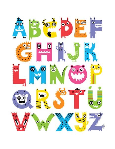 Alphabet Monsters Art Print