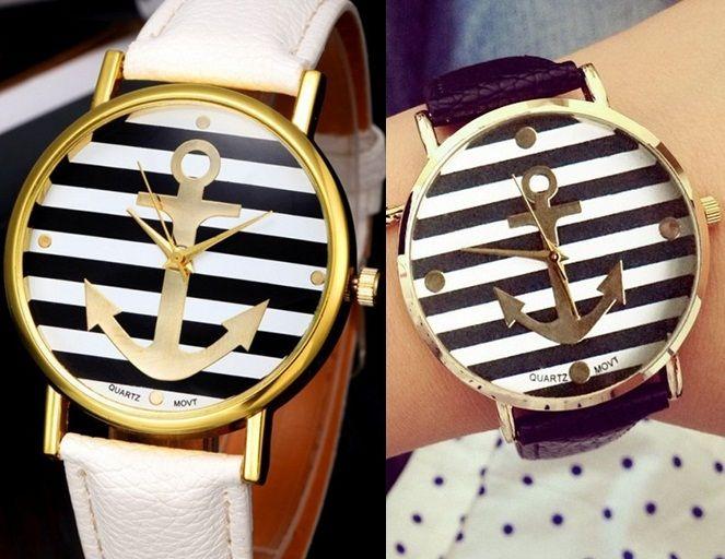 Zegarek kotwica skórzany złoty GENEVA marynarski EdiBazzar