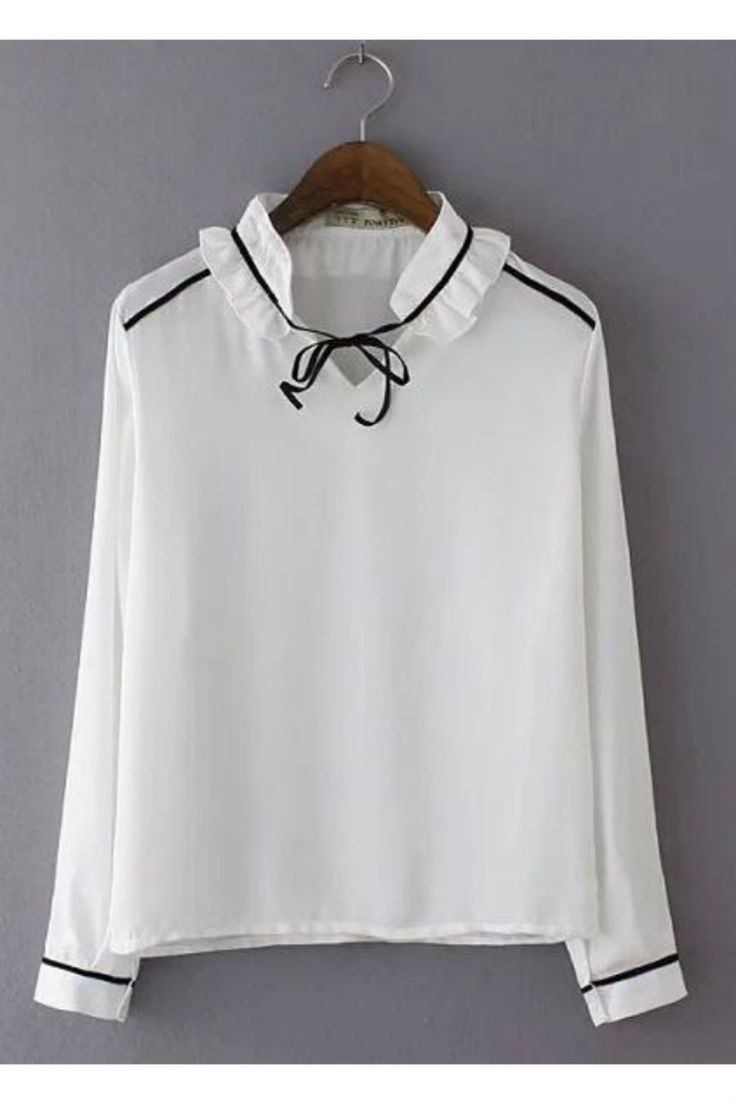 White Ruffle Colla Long Sleeve Blouse
