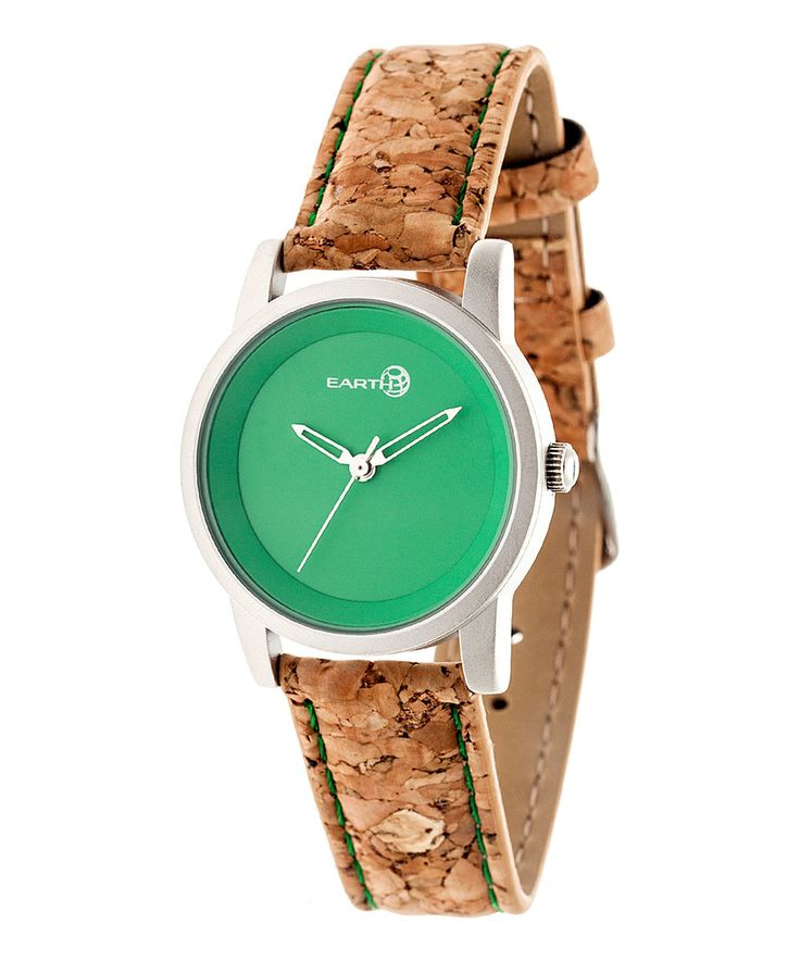 Love this Silver & Green Canopie Cork-Strap Watch by EARTH wood watches on #zulily! #zulilyfinds