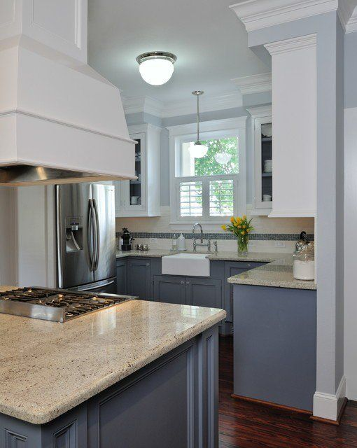 White upper cabinets dark grey lower cabinets grey blue for Dark walls in kitchen