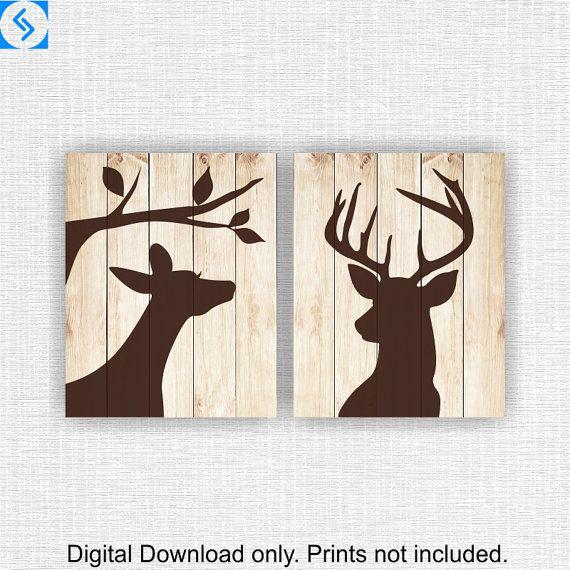 Group of Deer Silhouette 1 Wall