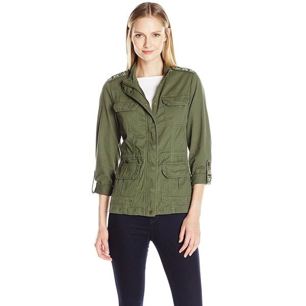 Democracy Women's Utility Jacket with Drawstring Waist and Embroidered... ($88) ❤ liked on Polyvore featuring outerwear, jackets, embroidered jacket, green jacket, embroidery jackets, utility jacket and long sleeve jacket