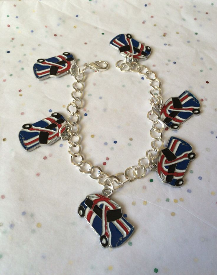 Red, Blue and White British Flag on a Mini Cooper Car Silver Tone Charm Bracelet by GeektasticCreations on Etsy https://www.etsy.com/listing/259322075/red-blue-and-white-british-flag-on-a